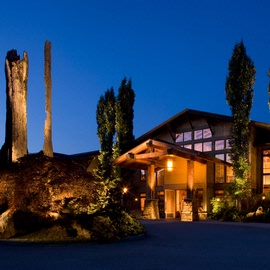 Willows Lodge exterior in the evening